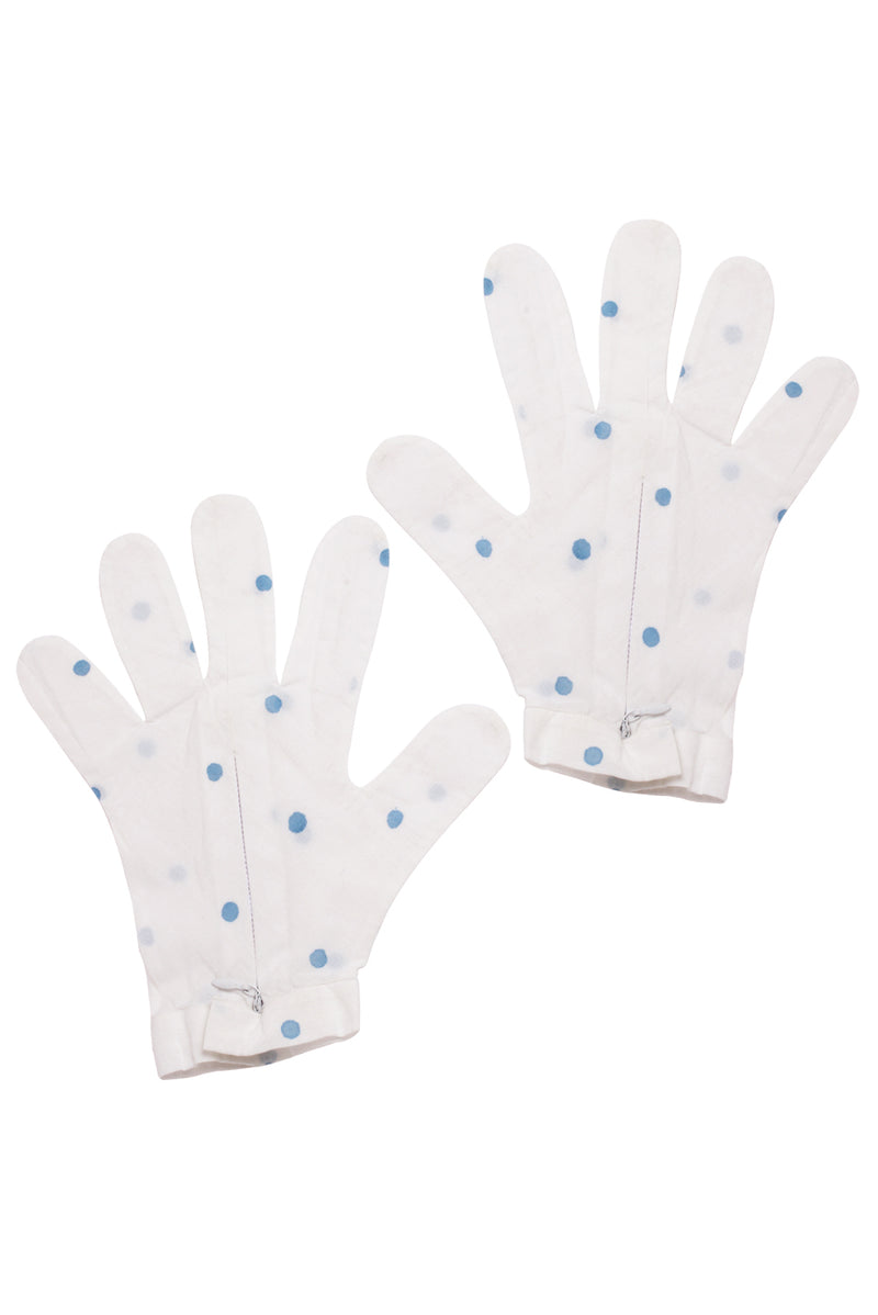 White Gloves - Blue Polka