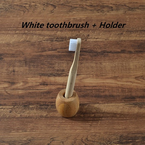 Childrens Eco-Friendly Bamboo Toothbrush & Toothbrush Holder