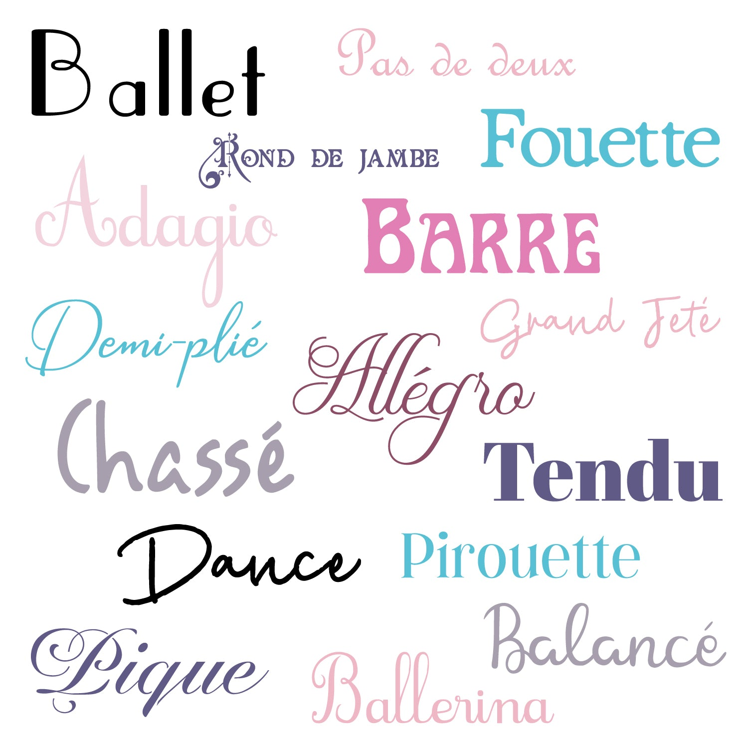 Vinyl Wall Decal | Style 20005 | 16-Pack Mix-Font Ballet