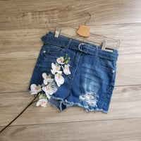 Self Belt High Waisted Denim Short