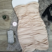 Bodycon Shirring Strapless  Dress