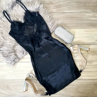 Black Lace Lingerie Satin Mini Dress
