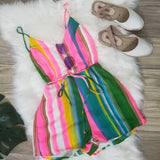 Colorful Backless Romper