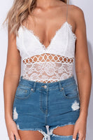 White Lace Trim Bodysuit