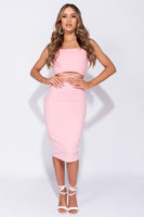 Pink Crop Top and Midi Skirt Set