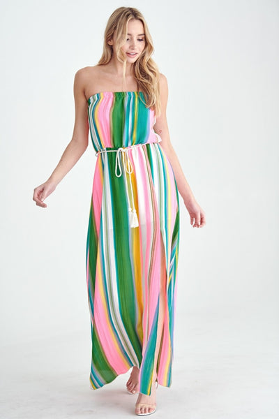 Tropical Multicolor Strapless Maxi Dress