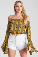 Mustard Printed Off Shoulder Bells Crop Top