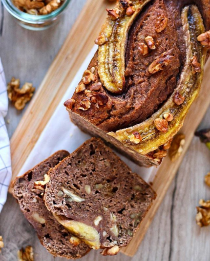 Easy & moist walnut banana bread with cricket powder