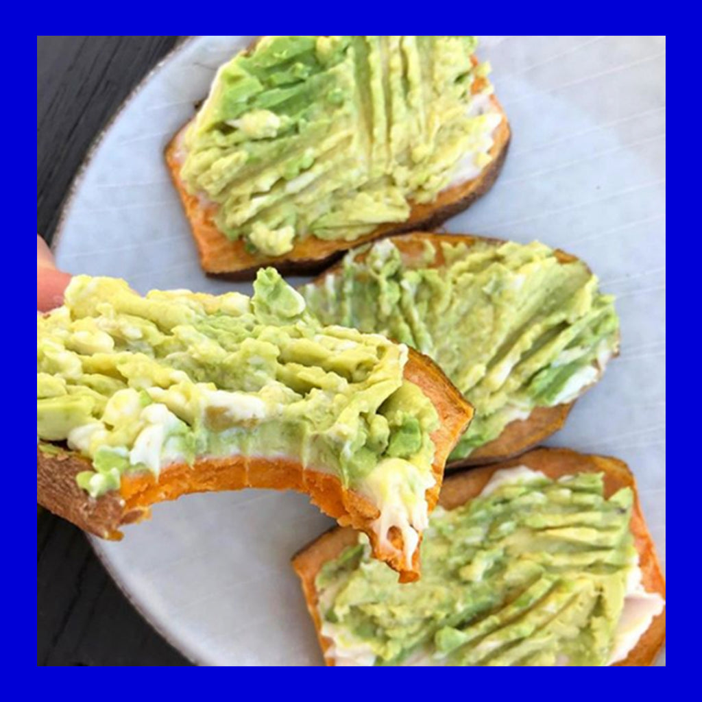 Sweet potato avocado toast with cricket powder