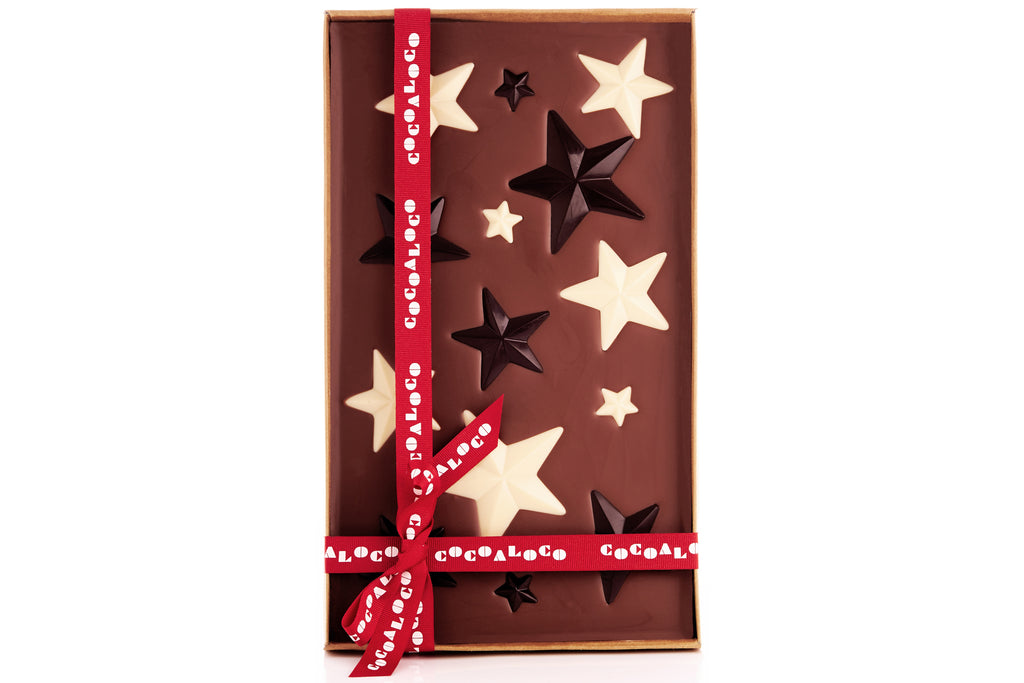Christmas Stars 500g Milk Chocolate Slab