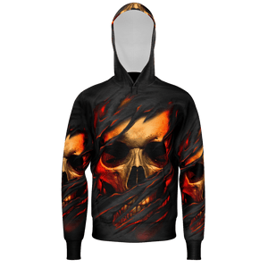 Ripped Skull Face Hoodie