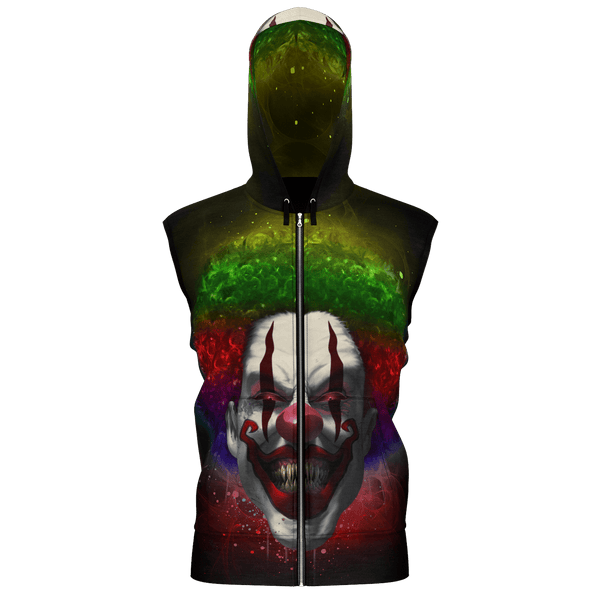 Crazy Clown Eyes Sleeveless Zip Hoodie