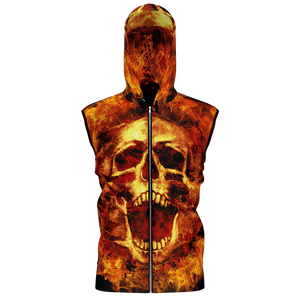Flaming Scream Sleeveless Zip Hoodie