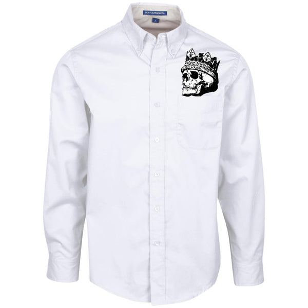 Crown Skull Long Sleeve Collared Shirt