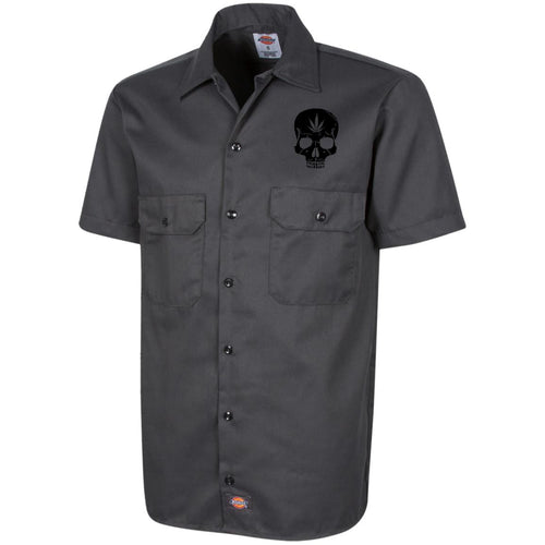 Cannabis Skull Dickies Men's Short Sleeve Workshirt