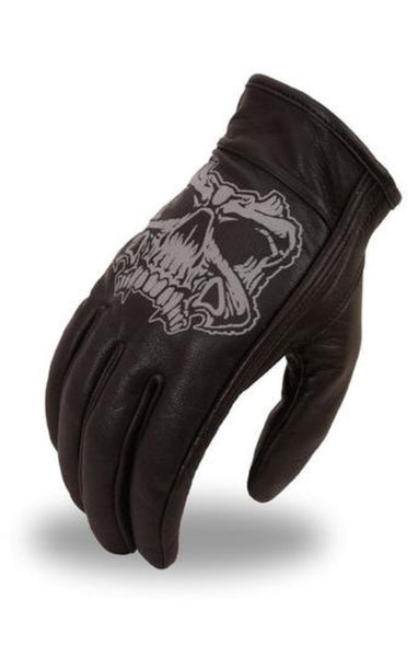 Skull Leather Riding Gloves