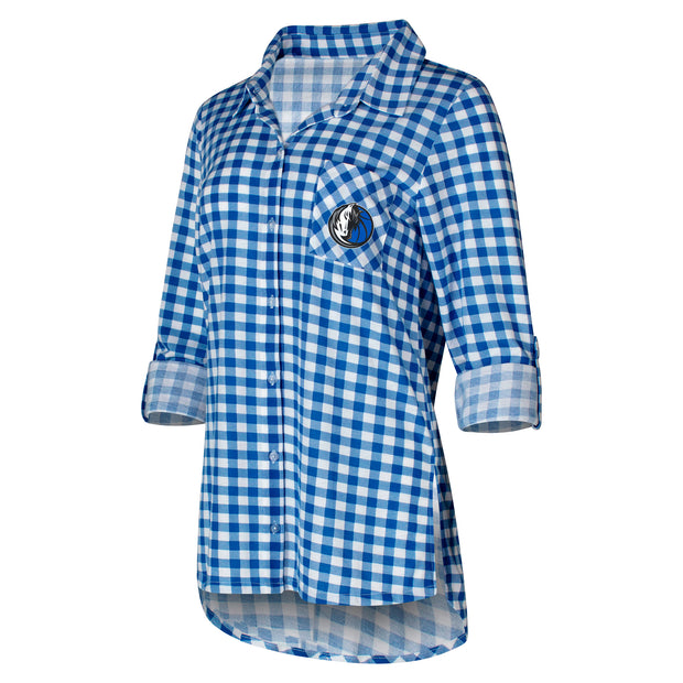 DALLAS MAVERICKS WOMEN'S FAIRWAY PLAID LONG SLEEVE BUTTON UP