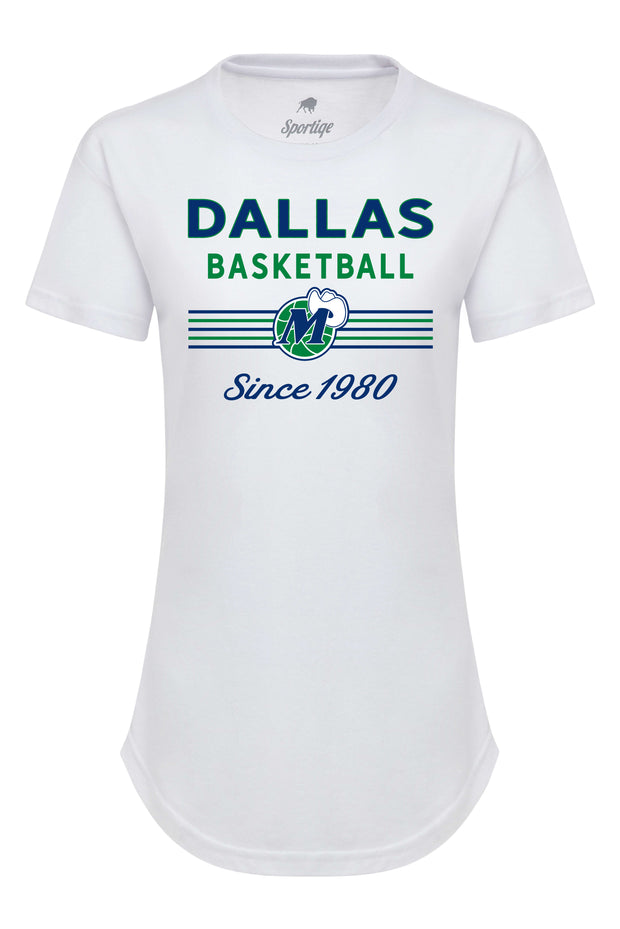 DALLAS MAVERICKS SPORTIQE WOMENS HARDWOOD CLASSIC PHEOBE WHITE TEE