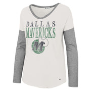 DALLAS MAVERICKS 47BRAND WOMENS HWC LETTER LONG SLEEVE TEE
