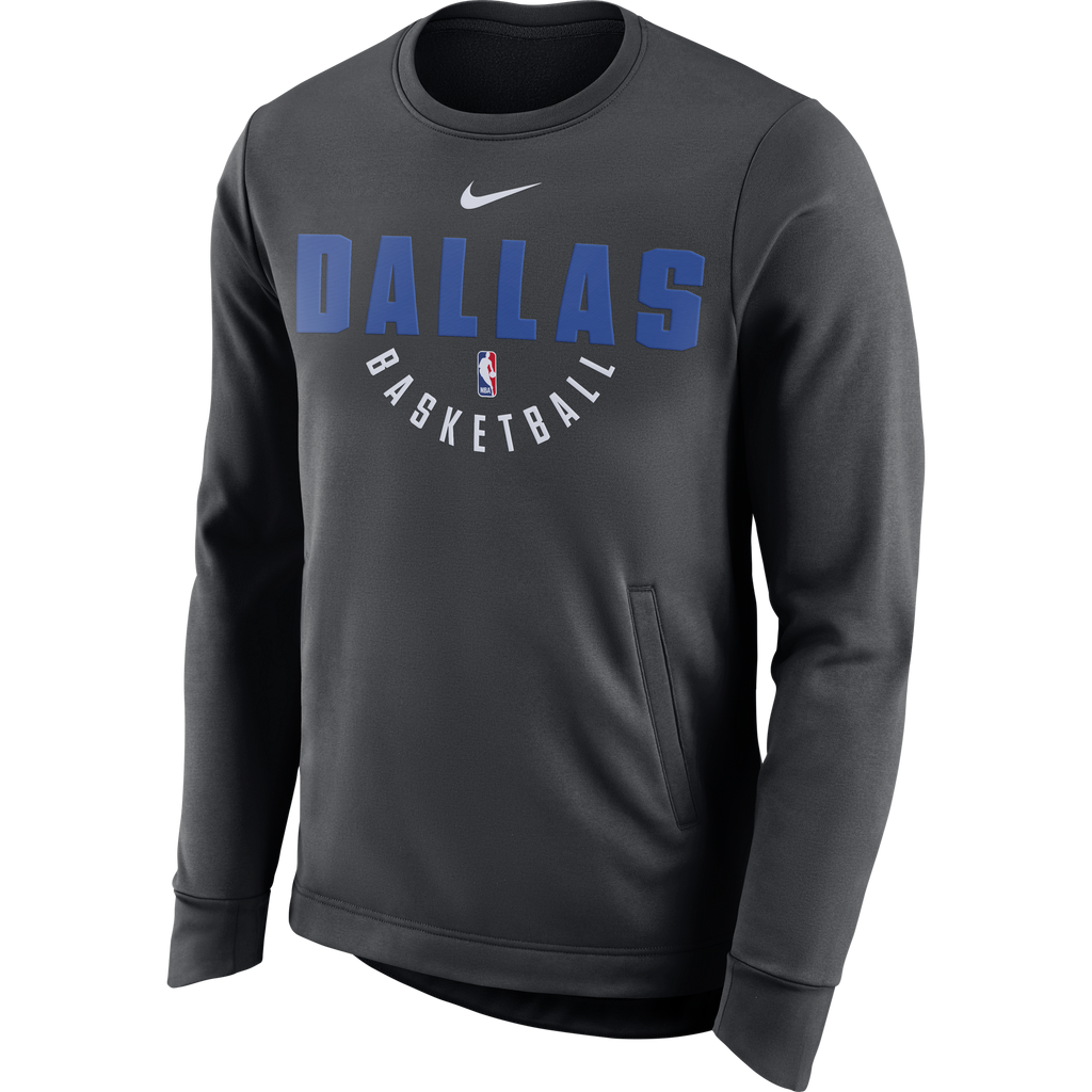 DALLAS MAVERICKS MENS NIKE THERMA LONG SLEEVE CREW ANTHRACITE