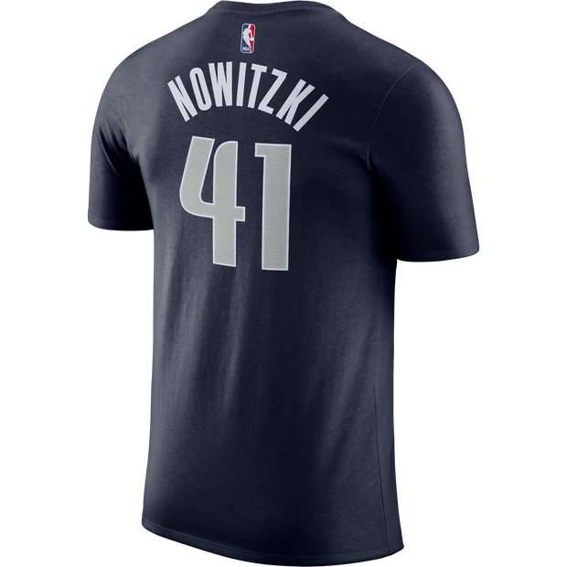 DALLAS MAVERICKS DIRK STATEMENT 2018 SKYLINE NAME AND NUMBER TEE