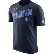 DALLAS MAVERICKS NIKE DIRK NOWITZKI NAME NAVY TEE