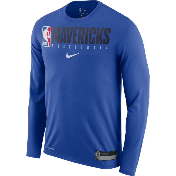 DALLAS MAVERICKS NIKE PRACTICE LONG SLEEVE ROYAL TEE
