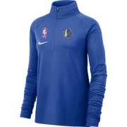 DALLAS MAVERICKS NIKE WOMENS ELEMENT ROYAL 1/4 ZIP TOP