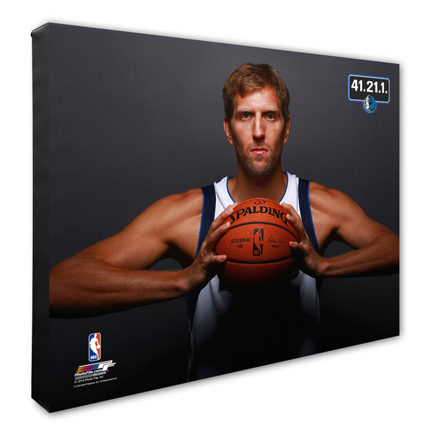 "DALLAS MAVERICKS ""BALL"" DIRK NOWITZKI CANVAS"