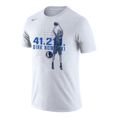 DALLAS MAVERICKS NIKE DIRK 41.21.1 WHITE TEE