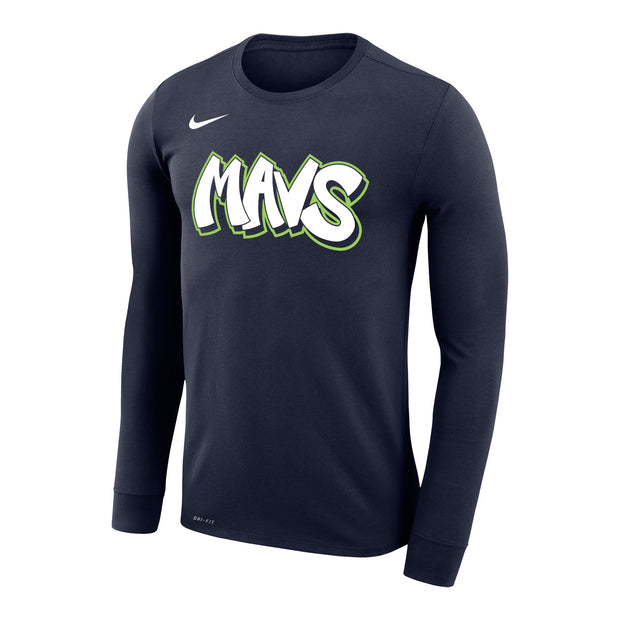 DALLAS MAVERICKS CITY EDITION 19-20 LONG SLEEVE NAVY TEE