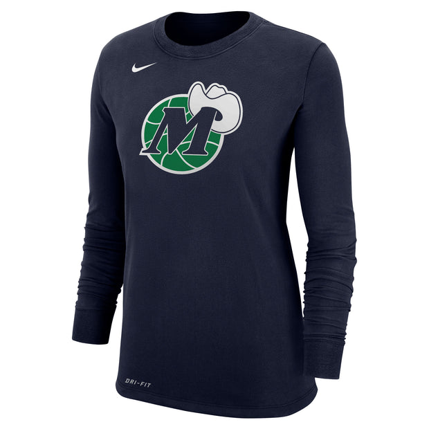 DALLAS MAVERICKS WOMEN'S NIKE HARDWOOD CLASSIC M-HAT LOGO NAVY LONG SLEEVE TEE