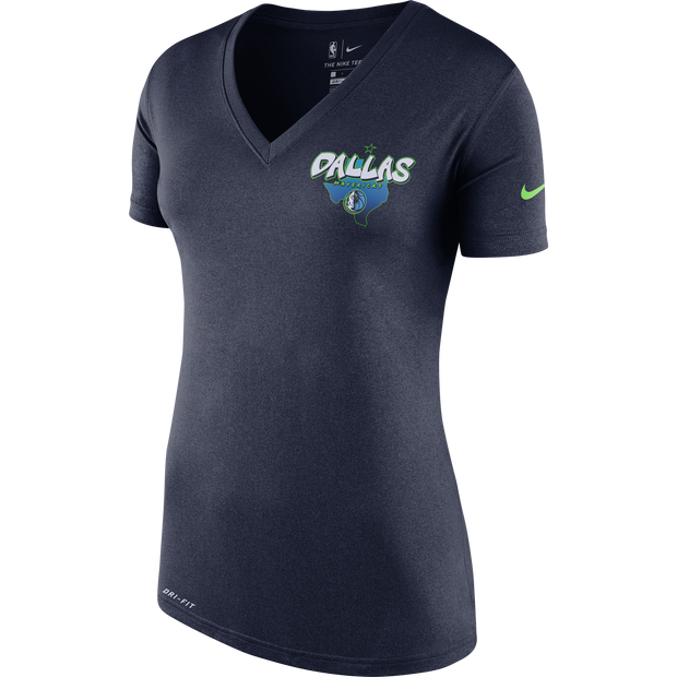 DALLAS MAVERICKS WOMEN'S CITY EDITION 19-20 TEXAS NAVY V-NECK TEE