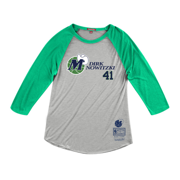 DALLAS MAVERICKS  WOMENS HWC DIRK NAME & NUMBER RAGLAN