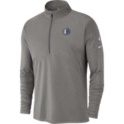 DALLAS MAVERICKS NIKE GRAY ELEMENT HALF ZIP LONG SLEEVE TOP