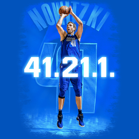 DALLAS MAVERICKS DIRK 41.21.1 ROYAL TEE