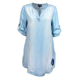 DALLAS MAVERICKS GAMEDAY COUTURE WOMENS LT WASHED TUNIC JEAN LIGHT V NECK