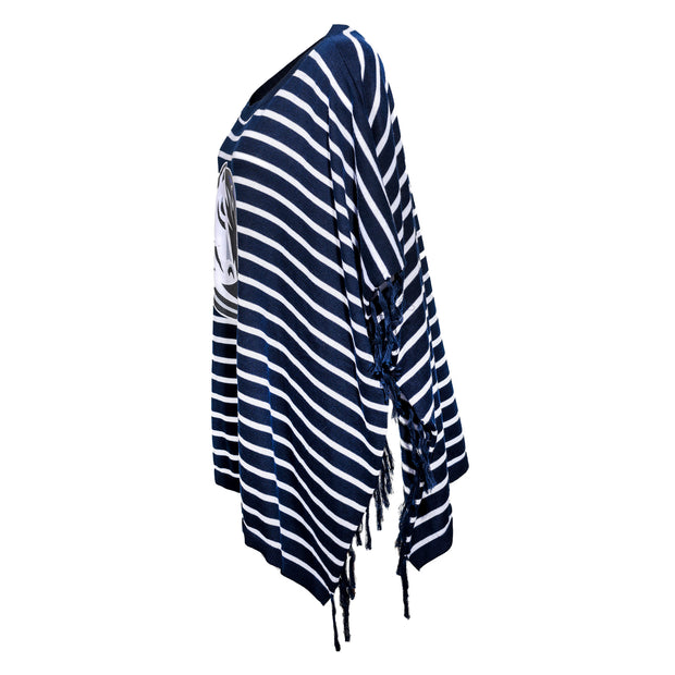 DALLAS MAVERICKS GAMEDAY COUTURE WOMENS STRIPED PANCHO BEAUTIFUL SOUL NAVY