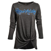 DALLAS MAVERICKS GAMEDAY COUTURE WOMENS SIDE TWIST LONG SLEEVE TEE ALWAYS BY YOUR