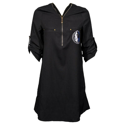 DALLAS MAVERICKS GAMEDAY COUTURE WOMENS ZIPPER DRESS BLACK