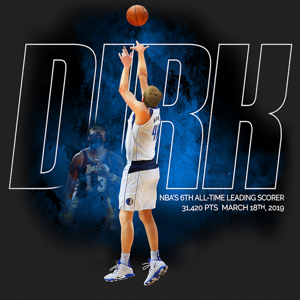 DALLAS MAVERICKS DIRK 6TH ALL-TIME TEE