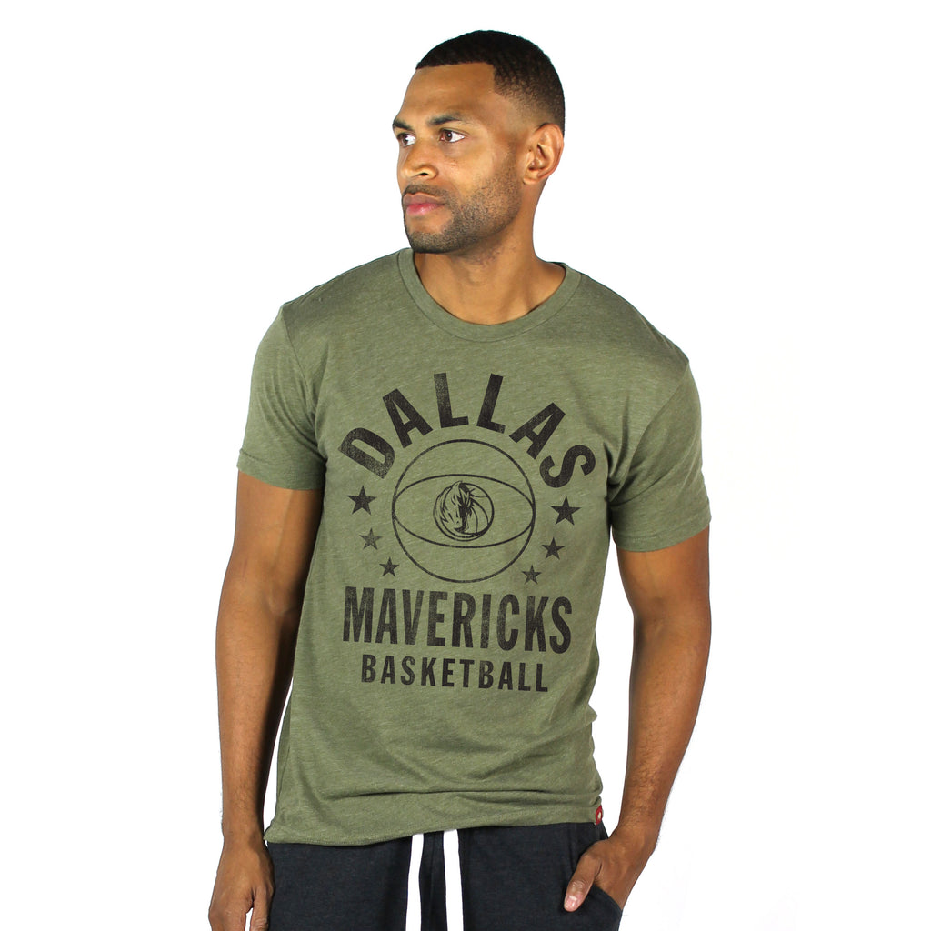 DALLAS MAVERICKS MENS SPORTIQE MILITARY STAR COMFY GREEN TEE