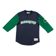 DALLAS MAVERICKS HARDWOOD CLASSIC WORDMARK RAGLAN HENLEY