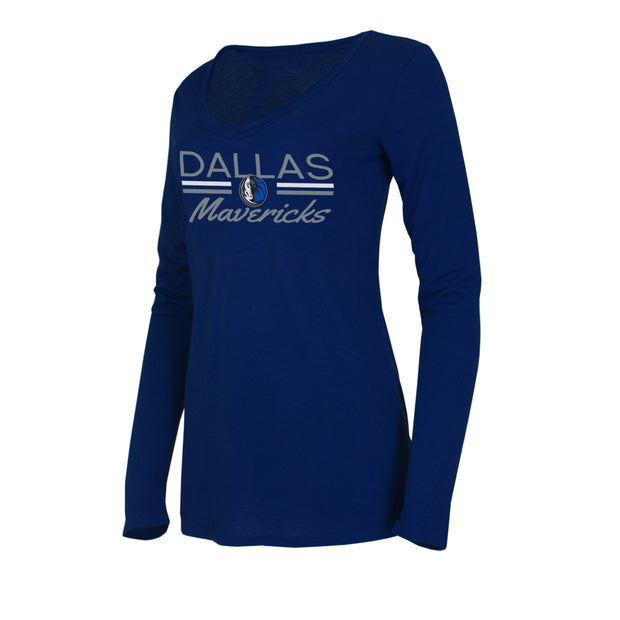 DALLAS MAVERICKS WOMEN'S MARATHON LONG SLEEVE V-NECK TOP