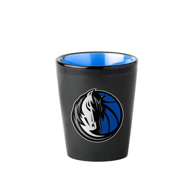 DALLAS MAVERICKS 2 OZ HEAD HORSE BLACK CERAMIC SHOT GLASS