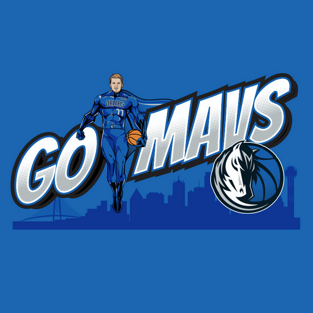 DALLAS MAVERICKS GO MAVS LUKA SUPERHERO TEE