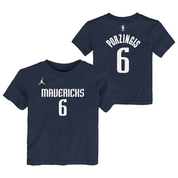 DALLAS MAVERICKS KRISTAPS PORZINGIS TODDLER STATEMENT JORDAN BRAND NAME & NUMBER TEE