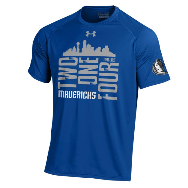 DALLAS MAVERICKS MENS UNDER ARMOUR 214 FRONT TECH TEE ROYAL