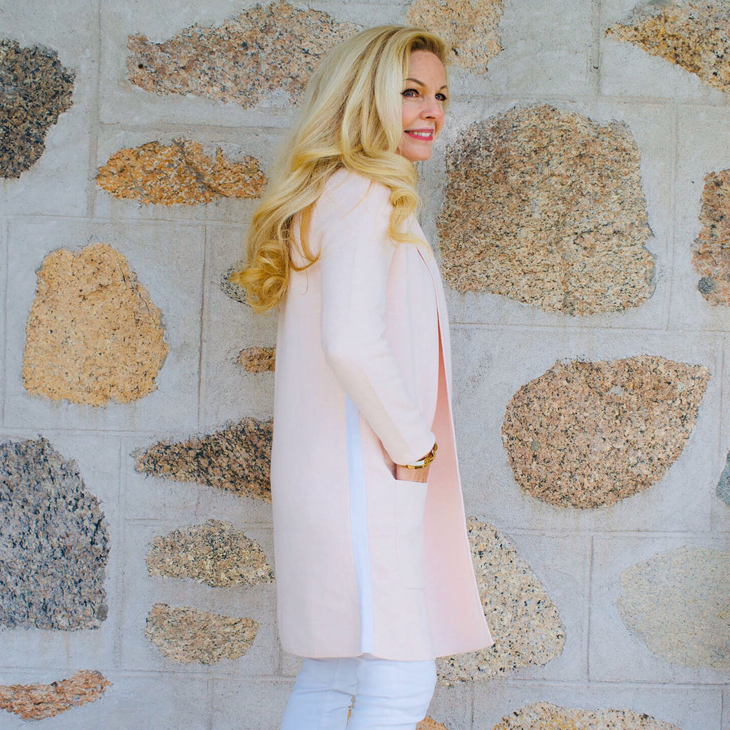 The Travel Coat- Pink Calico w/ White Stripe