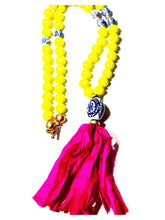 Load image into Gallery viewer, Pink and Chinoiserie Tassel Necklace